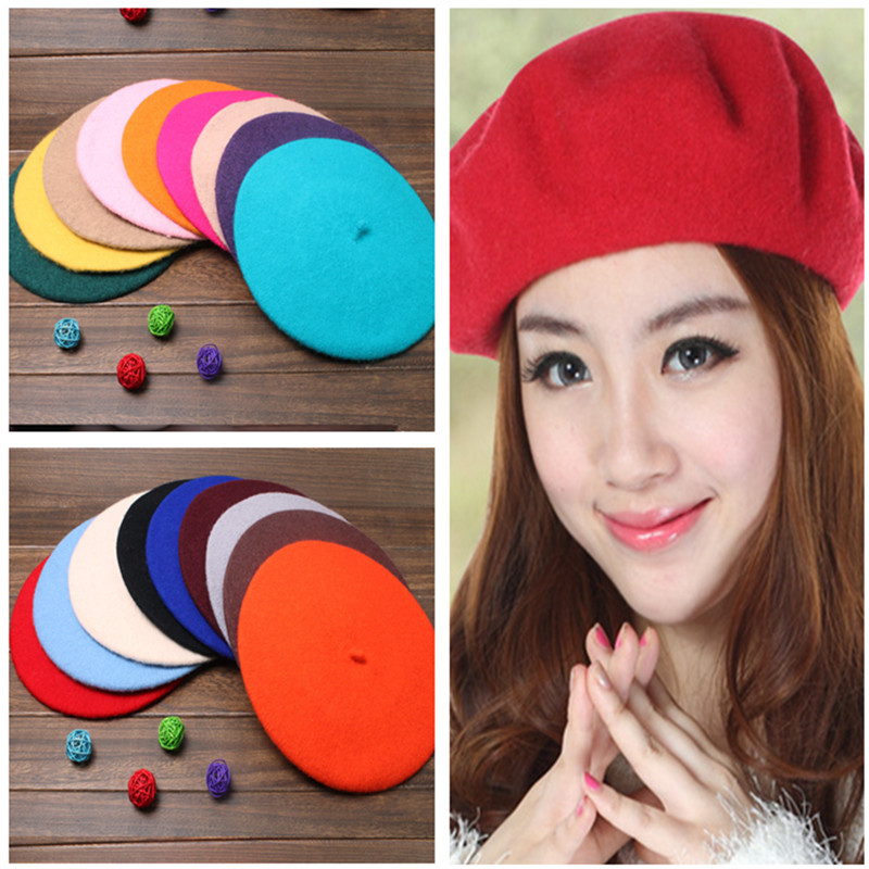 13 Colors Solid Color Warm Wool Winter Girl Beret French Artist Beanie Hat Ski Cap(China (Mainland))
