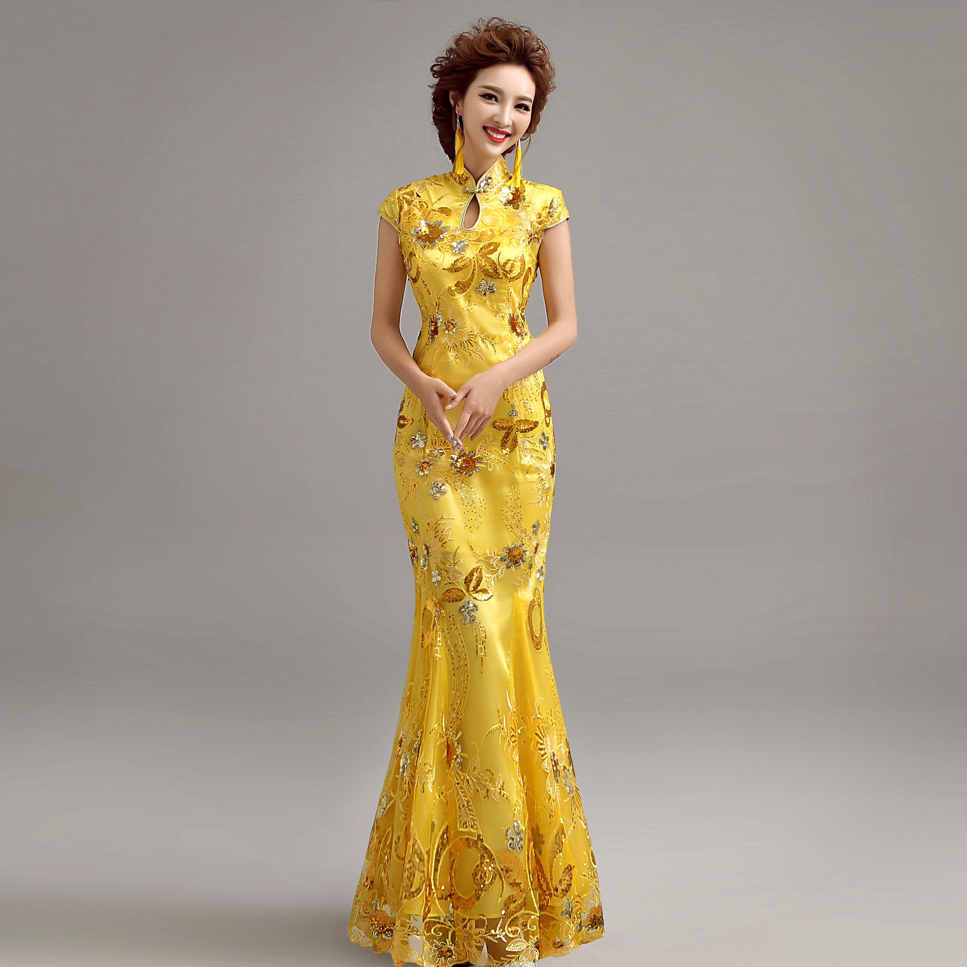 Hot sale yellow sexy lace cheongsam 2015 summer style for Yellow wedding dresses for sale