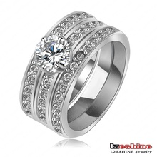 LZESHINE Brand New Promotion Engagement Knukle Rings Real 18K Rose Gold Platinum Plate 3 Layer Fashionable