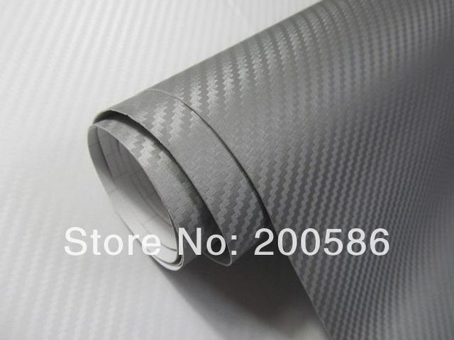 Silver Gray 3D Carbon Fiber Car Wrapping Vinyl Film Sticker Air Free Bubble Free Shipping cfvw30m-018