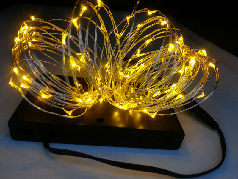 Indoor 8 AA Battery Powered10M 100 Led Silver Wire String Light for Christmas, Holiday, Wedding ...