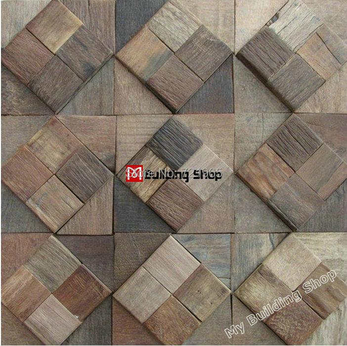 Natural wood wall tiles backsplash NWMT092 wooden mosaic 3D mosaic TV background tile wood parquet mosaics<br><br>Aliexpress