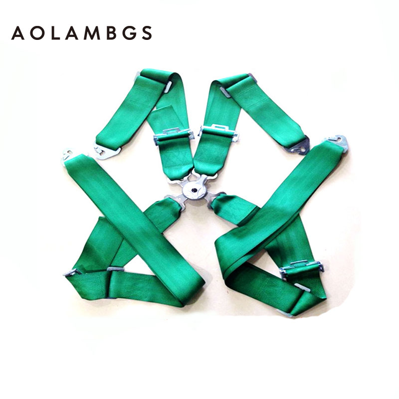 Car Seat Belt Hot width:3inches/4 POINTS /Harness/Racing Safety Seat Belt Homologation 1 Set Color Green(China (Mainland))