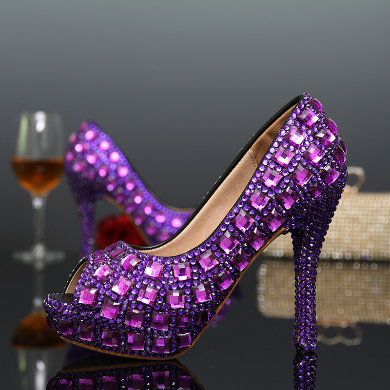 Здесь можно купить  New Fashion Peep Toe Purple Rhinestone Platform High-Heeled Lady Shoes Crystal Bridal Wedding Shoes Evening Party Prom Shoes  Обувь