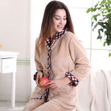 Free Shipping Winter Tcoral Fleece Cotton Couples Plus Size Full-sleeve Beige Color Hick Sleepwear(China)
