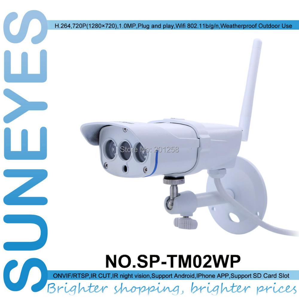SunEyes SP-TM02WP 720P HD Wifi Wireless IP Camera Outdoor ONVIF with RTSP and TF/Micro SD Slot P2P Plug and Play IR Night Vision(China (Mainland))