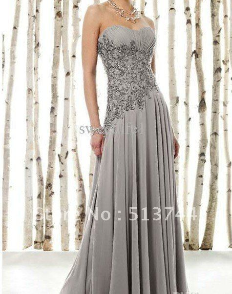 Wholesale - 2011 Sexy Sliver Chiffon Strapless Applique Sequin Floor length Ruffles Mother of the Bride Dresses