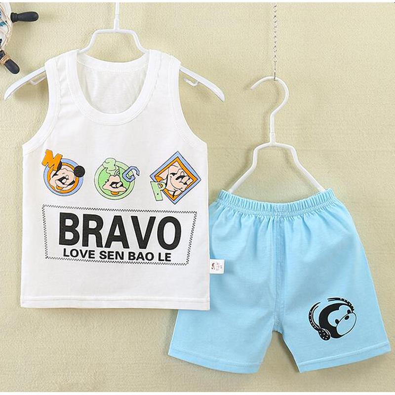 2016 children summer cotton virgin suit, Vest suit children, cartoon sleeveless vest shorts,baby bay clothes(China (Mainland))