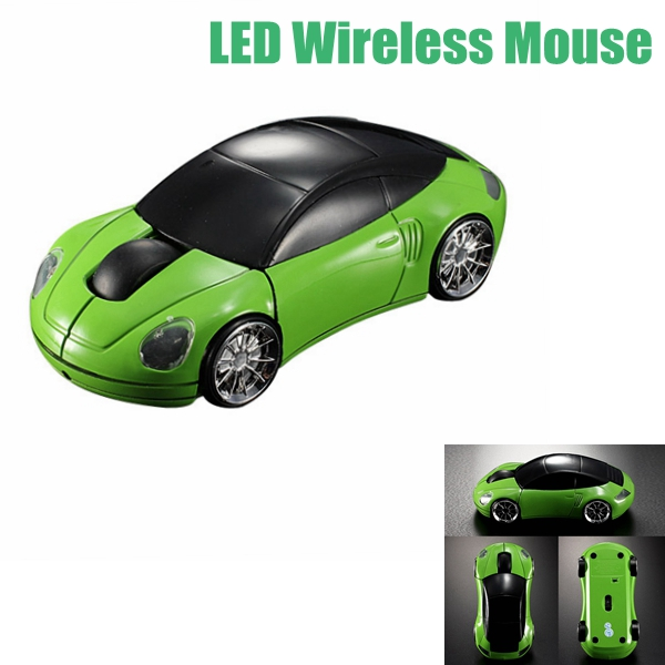 Green Laptop Computer Car Shaped Mouse 1600DPI Optical Mice 3D 2.4G USB Wireless(China (Mainland))