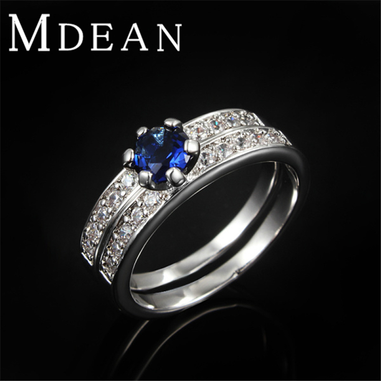 Sapphire Rings Platinum plated Wedding Blue Stone Ring Sets For Women Vintage Jewelry Bijoux Accessories Engagement Bague(China (Mainland))