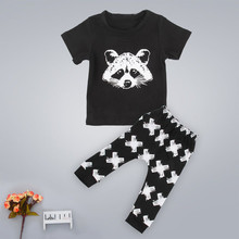 Toddler Kids Baby Boys Outfits Summer New Arrival Lovely Child Cartoon Animal Short Sleeve T-shirt Tops+Pants Clothes Sets(China (Mainland))