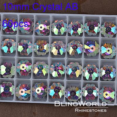 Machine Cut Flower Shape 60pcs 10mm Crystal AB Bright luster Sew On Rhinestones With One Hole(China (Mainland))