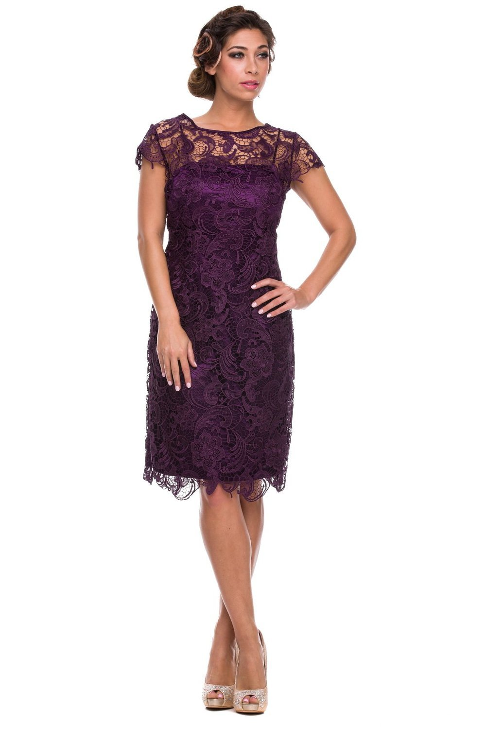 2015 New Fashion Summer Dress Short Purple Lace Mother Of