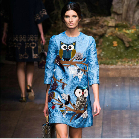 New Arrival!! 2015 Mother And Daugther Print  Owl Cartoon Dress Family Autumn Half Sleeve Cotton Stylish Dress Family Clothing<br><br>Aliexpress
