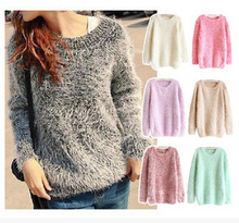 autumn winter women's fashion soft Mohair fur leisure Sweaters pullovers Free Shipping(China (Mainland))