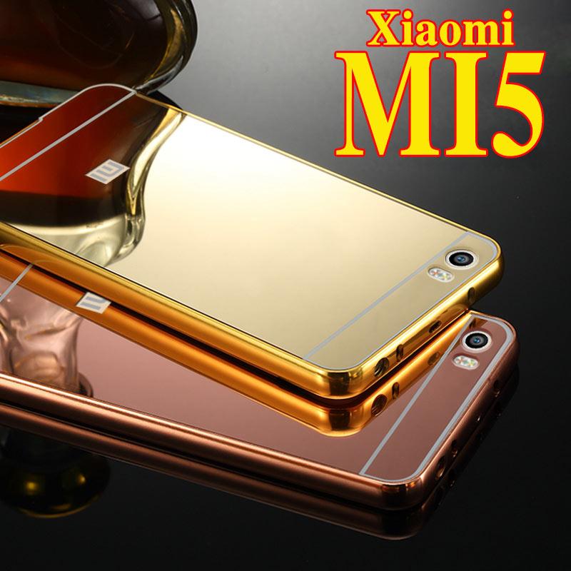 Mirror Brand Xiaomi Mi5 Case Luxury Aluminum Alloy Back Cover & Aluminum Metal Frame Cell Phone Bag Case for Xiao Mi Mi5 Mi 5 M5(China (Mainland))