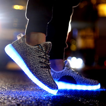 WEISE 7 Colors luminous shoes unisex led glow shoe men & women fashion USB rechargeable light led shoes for adults led shoes(China (Mainland))