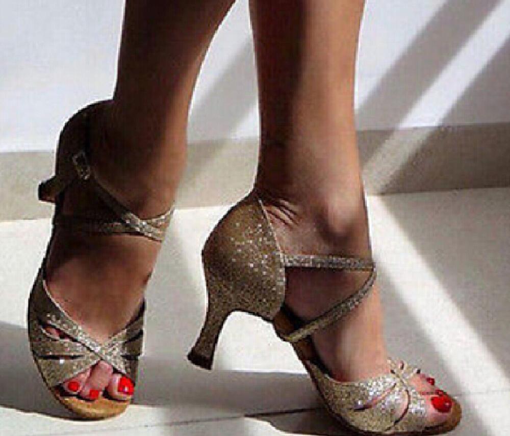 New Free Shipping Gold Glitter Open Toe Dance Shoe Ballroom Salsa Latin Tango Bachata Dancing Dance Shoes ALL Size(China (Mainland))