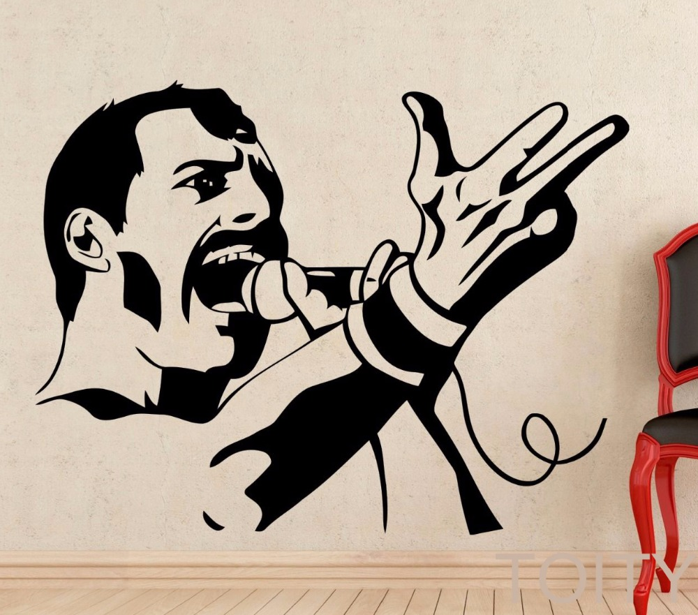 Freddie mercury wall decal rock music queen vinyl sticker for Club de suscriptores mural