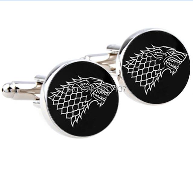 1 pair Free Shipping glass cuff links Game of Thrones Cufflinks House of Stark Cufflinks men cufflinks high quality(China (Mainland))