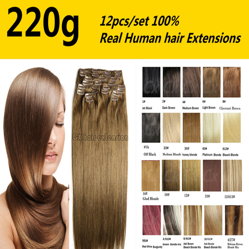 Фотография 220g /set  26 colors available  Free Shipping  THICK Full Head silk soft  remy Brazilian Human Hair Clips In/on Extensions