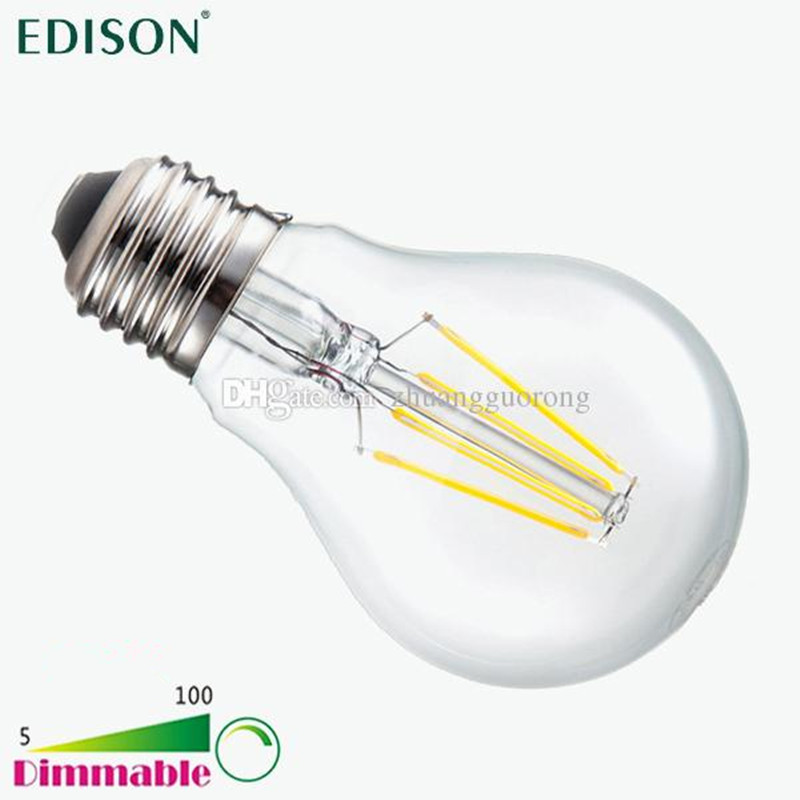 New Dimmable Edison COB Filament Globe Light E27 E26 LED 110-240V 4W 6W 8W LED Bulb Lamp VS 60W 80W 100W Incandescent Bulbs(China (Mainland))