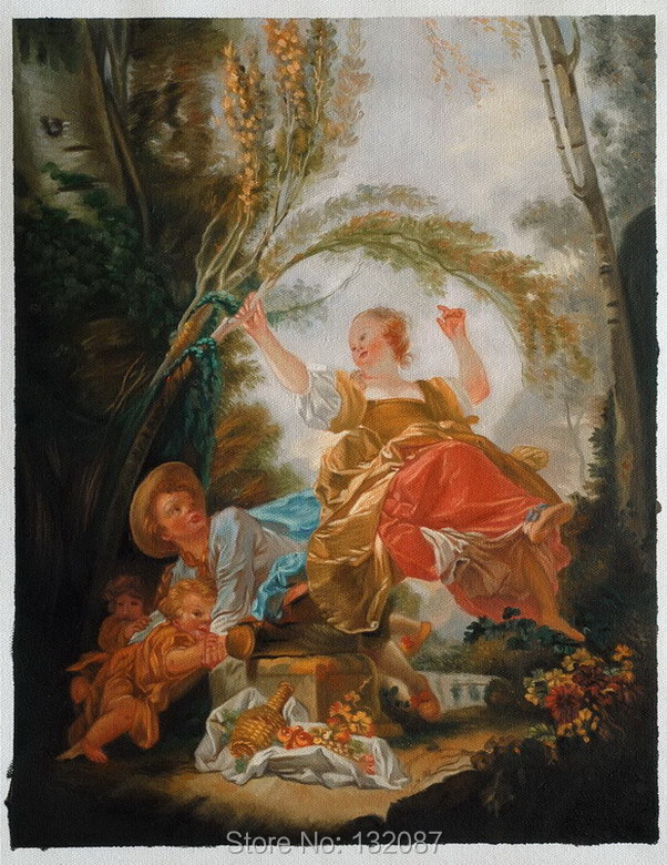 Free shipping The Swing by Jean-Honore Fragonard, Hand Painted Oil Painting for Gifts H-0720(China (Mainland))