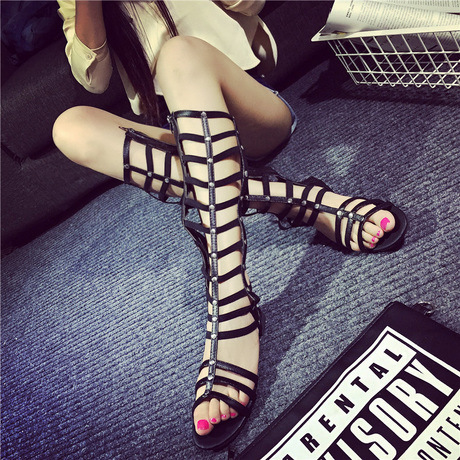 Female Summer Free Shipping Sexy Roman Open Toe Knee High Tall New Europe Strappy Gladiator Zipper Closure Flat boots Sandals(China (Mainland))