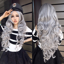 Women Stone gray Long Curly Wavy Hair Full Cosplay Lolita Party Wig(China (Mainland))
