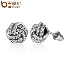 BAMOER Popular Silver Color Weave Round Small Stud Earrings Women Fashion Earrings Jewelry Wholesale Brincos PA4102(China (Mainland))