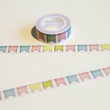 1 Roll = 15 mm * 10 M del Washi japonés cinta adhesiva decorativa patrón banderas cinta adhesiva de papel etiqueta engomada del diario de regalos envío gratis