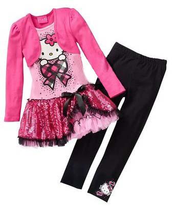 Retail 2015 Kids Clothes Sets Fashion Autumn 2pcs Sets Skirt Suit Hello Kitty Baby Girls Dresses Clothing Sets Shirt +Pants(China (Mainland))