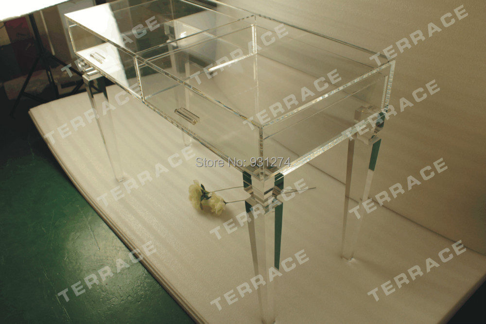Clear Acrylic Vanity Drawer Desk,Clear Lucite Console Table(China (Mainland))