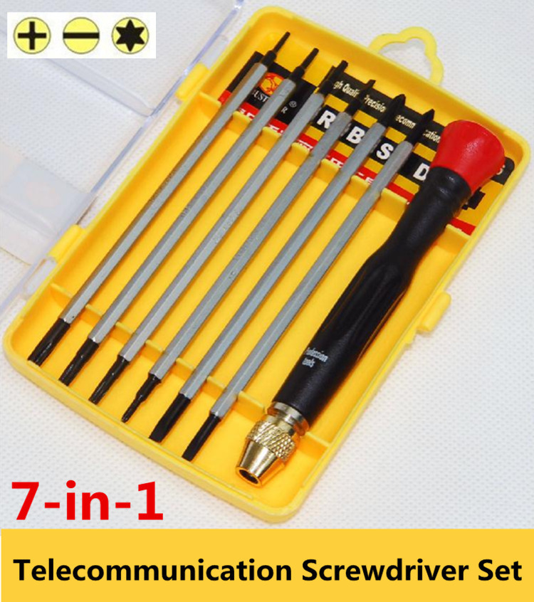 chave de fenda 7 in 1 telecommunication precision screwdriver set cr v multifunction tool hand. Black Bedroom Furniture Sets. Home Design Ideas