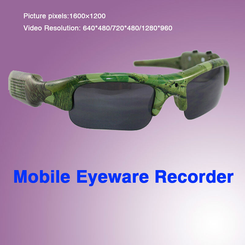 2016 HD Camera Smart Glasses Camouflage Green Micro SD 32G Card Outdoor Sports P