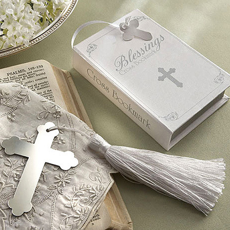 Wholesale - Free shipping 100pcs/lot Cross shape vintage stainless steel bookmark baptism favors wedding favor(China (Mainland))