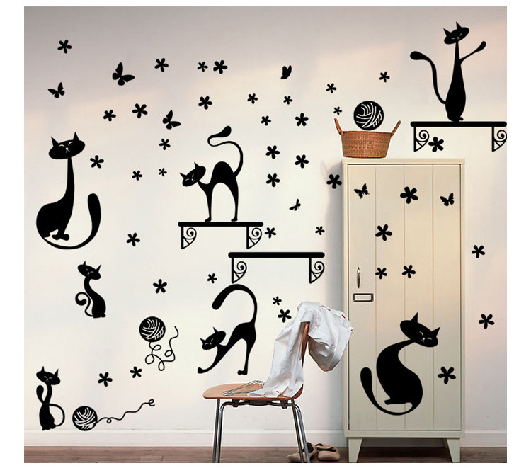 Hot style sell like hot cakes can remove foreign trade wall stick TV setting cabinet decoration cats all stickers(China (Mainland))