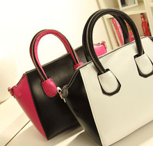 40PCS/lot Korean Style Color Contrast Leather Handbags