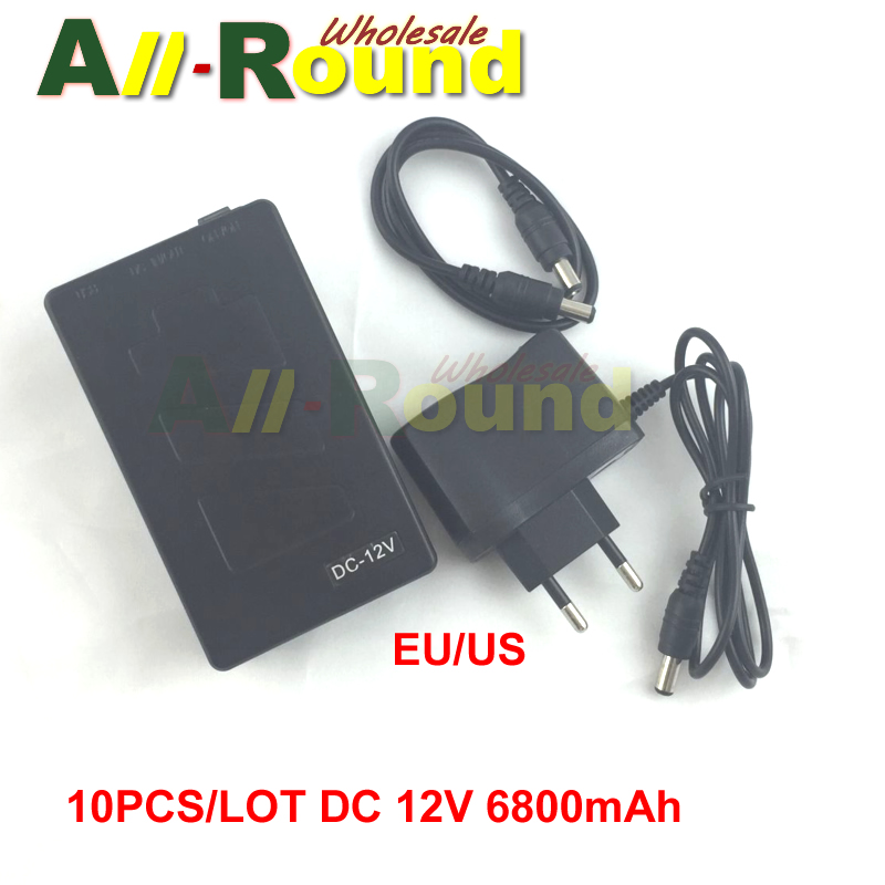 10PCS Portable Super Capacity Rechargeable Lithium-ion Battery Pack DC 12V 6800mAh for CCTV Cam Monitor Free Shipping(China (Mainland))