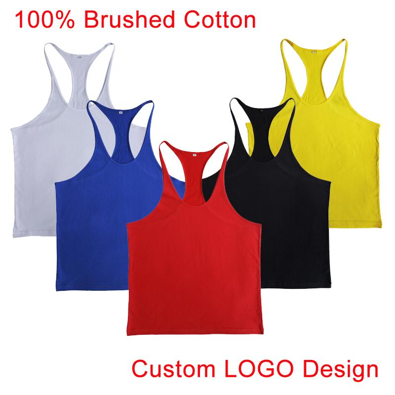 Plain Gym Tank Top Fitness Men Blank Bodybuilding Stringer Singlets Sleeveless Sport Suit T-shirt Brushed Cotton Custom Logo OEM(China (Mainland))
