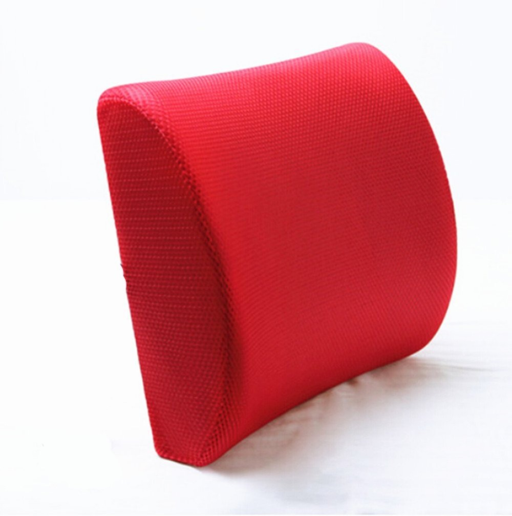 Red High Resilient Memory Foam Seat Back Lumbar Cushion Support Pillow Car Of
