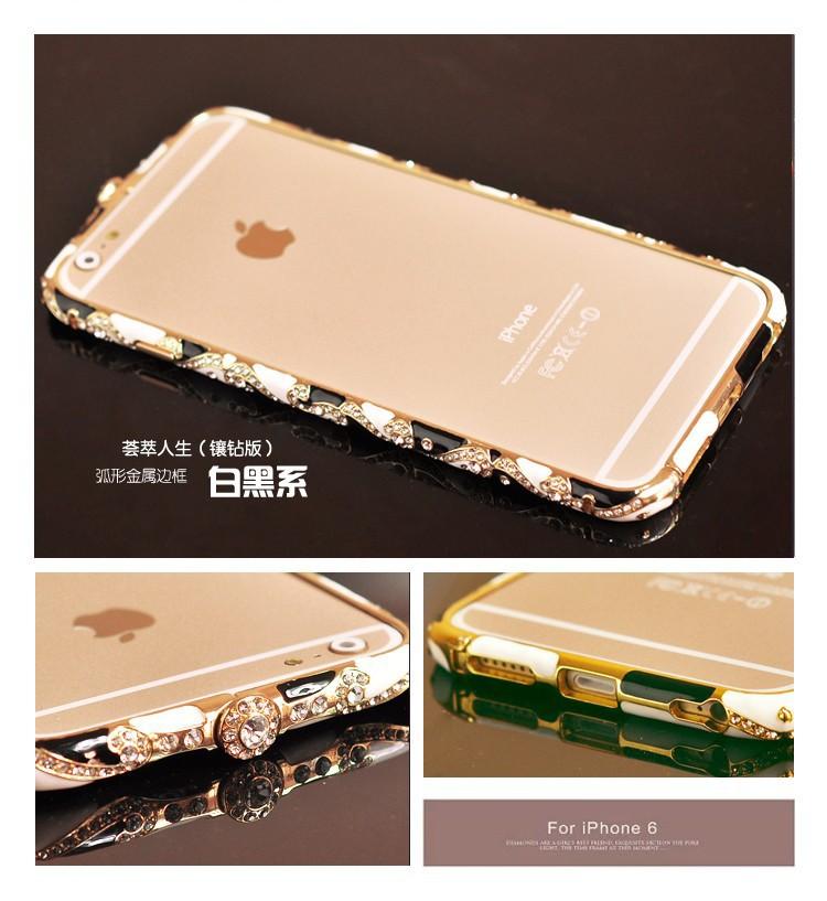 Metal Czekh Crystal Frame Bumper For Apple iPhone 5 5s 6 6 plus Luxury Shining National Style Rhinestone Case(China (Mainland))