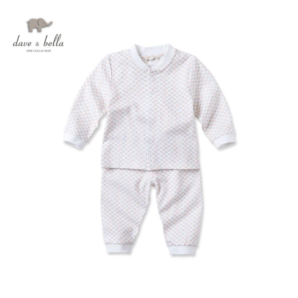DB2990 dave bella 2015 autumn 100%cottom baby sleepwear boys clothing set girls pajamas set infant sleepwear toddle pajamas(China (Mainland))