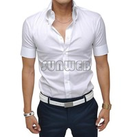 2015 Mens Slim Fit Casual Blouse Unique Neckline Stylish Short Sleeve Shirt Turn-down Collar Men's Shirts 25