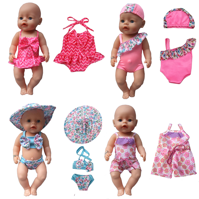 "Summer set For 18"" American Girl Doll Bikini + Cap summer Swimming Suit With Hat also fit for 43cm Baby born zapf doll Clothes(China (Mainland))"