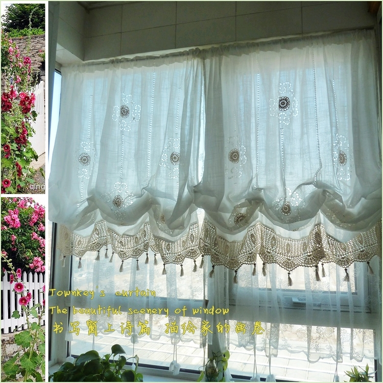S&V American Country Hollow out crochet adjustable balloon window curtain living room shade White window treatment curtains 1Pcs(China (Mainland))