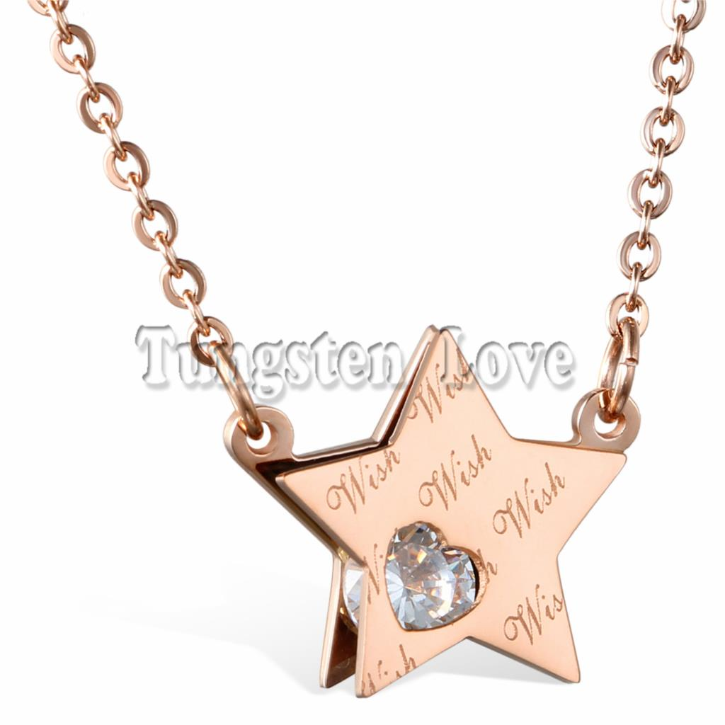 Cute Wish Star Design Woman Necklaces Rose Gold Color Stainless Steel with Cubic Zirconia Women Jewelry Fashion collar(China (Mainland))