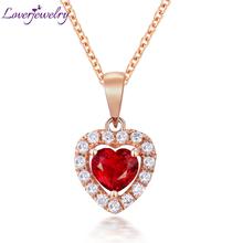 Loverjewelry solide 18 k or rose rubis pendentif bijoux diamants promis de mariage rouge pierres véritables pour les femmes cadeau(China (Mainland))