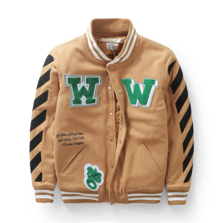 Top perfect 2015 winter Off-White Meadow Striped woolblend Letterman Patch Varsity Jacket mens jacket off white virgil abloh(China (Mainland))