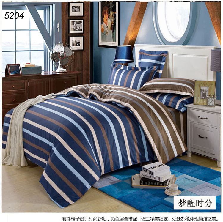 New fashion blue strips bedding set cotton fabric bedding brief bed cover comforter cover bed sheet pillow cases 5204(China (Mainland))